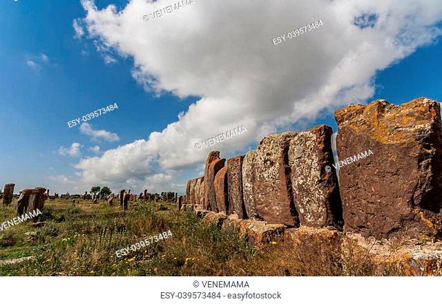 Tombstones at the Noratus graveyard in Armenia