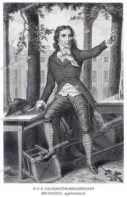 Historical steel engraving from the 19th Century, portrait, Benoit Camille Desmoulins, lawyer, journalist in the Age of Enlightenment and a leader of the French...