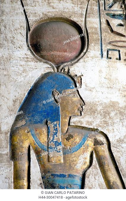 Medinet Habu, Luxor, Egypt, Djamet, mortuary temple of King Ramses III, XX dyn. 1185 -1078 B.C. the goddess Hathor