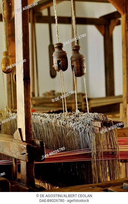 Hand loom weaver, Ethnographic Museum, San Michele all'Adige, Trentino-Alto Adige, Italy. Detail. San Michele All'Adige...