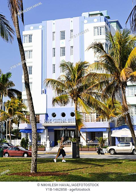 Man jogging outside Park Central Hotel, South Beach, Miami