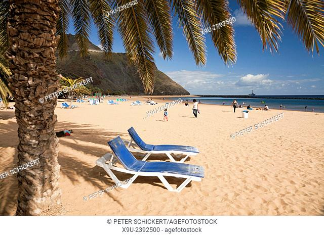beach chairs at Playa de Las Teresitas near San Andres, Tenerife, Canary Islands, Spain, Europe