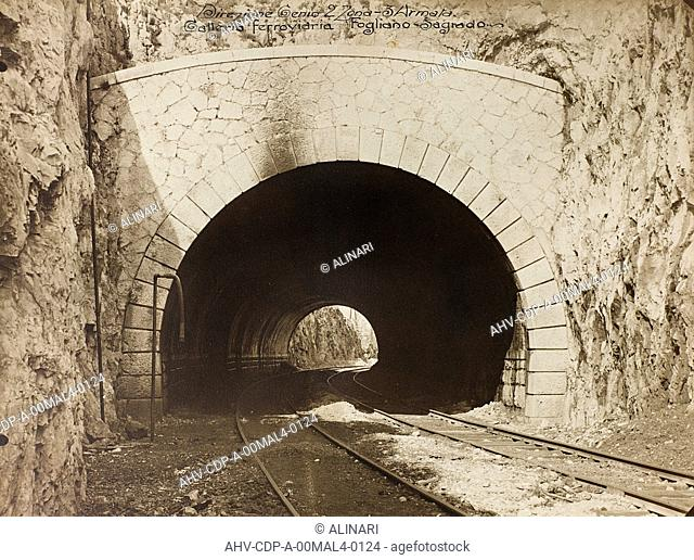 Album Italo-Austrian War 1915-1918 pigeons: Leadership Corps of Engineers 2nd Area 3rd army, railway tunnel is in the Fogliano - Sagrado, shot 1915-1918