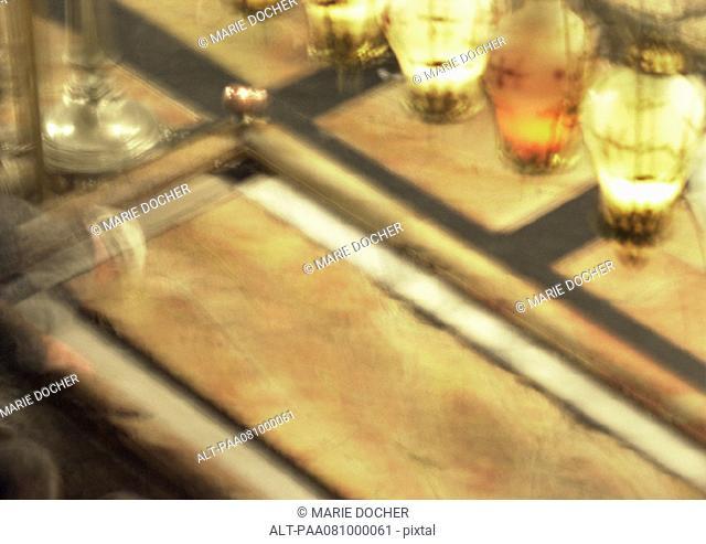 Israel, Jerusalem, Holy Sepulchre, close up of altar, blurry