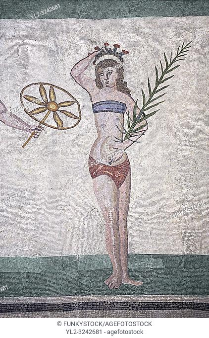 Mosaic detail fron the Room of the Ten Bikini Girls, room no 30, from the Ambulatory of The Great Hunt, room no 28, at the Villa Romana del Casale which...