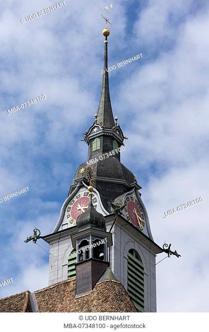 Main square with parish church of St. Martin, Schwyz, Canton Schwyz, Switzerland