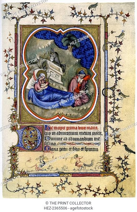 The Nativity, from a Book of Hours and Missal, c1370 (1958). A print from 'The Fitzwilliam Museum An Illustrated Survey', By Trianon Press, 1958