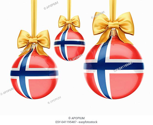 3D rendering Christmas ball decorated with the flag of Norway