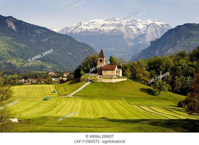 Church of St. Cassian in Thusis, UNESCO World Heritage Site Rhaetian Railway in the Albula, Kanton Graubuenden, Switzerland