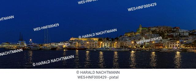 Spain, Balearic Islands, Ibiza, View of old town with harbor and Dalt Vila
