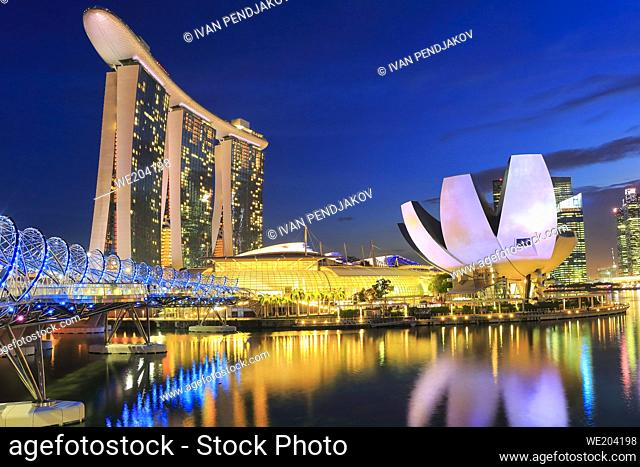 Marina Bay Sands, Art Science Museum and Helix Bridge at Dusk, Singapore