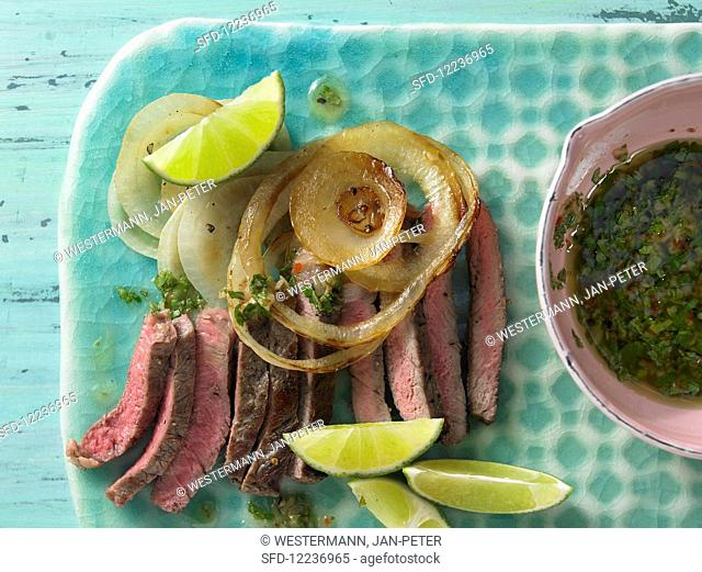 Rump steak with coriander and chilli sauce