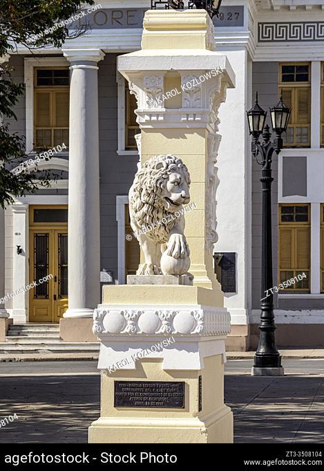 Lion Sculpture at the Main Square, Cienfuegos, Cienfuegos Province, Cuba