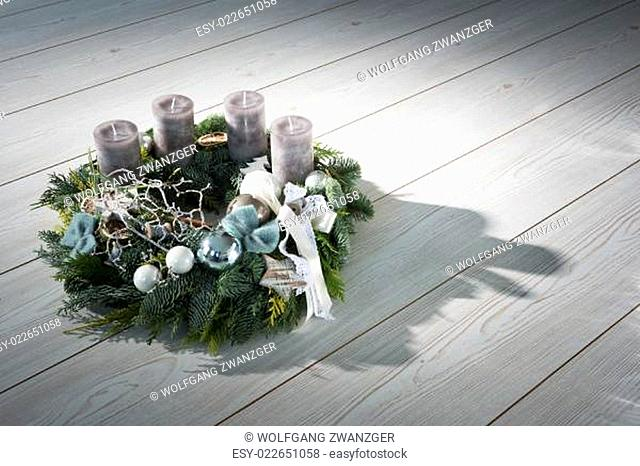 Advent wreath with grey candles