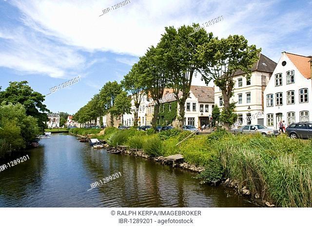 Canals in Friedrichstadt, Schleswig-Holstein, Germany, Europe