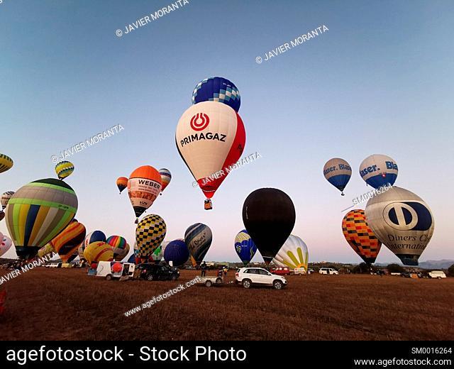 Take-off of hot air balloons during participation in the XXI Fai Europeans Hot Air Balloon Championship 2019