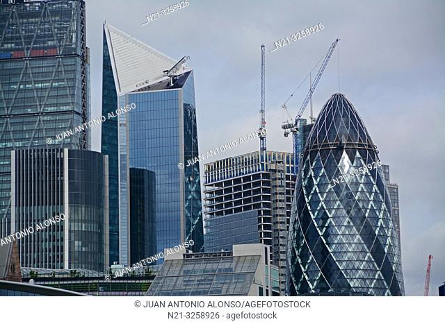 The Leadenhall Building, The Scalpel, the 100 Bishopsgate Building under construction and the 30 St. Mary Axe -The Gherkin- in the Financial District