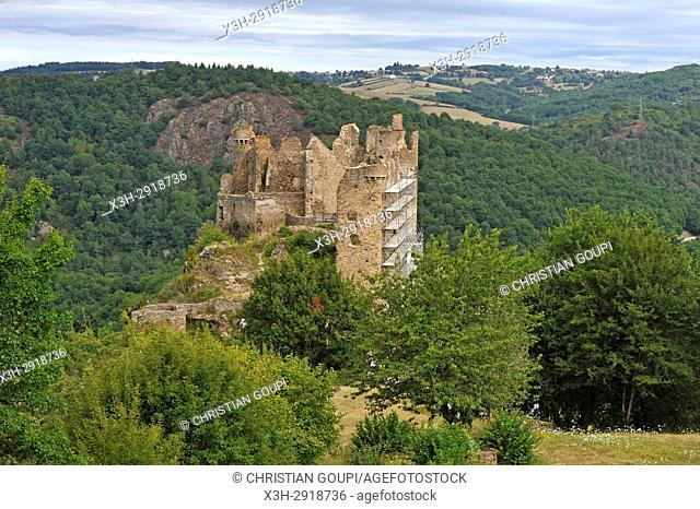 ruins of Chateau-Rocher overhanging the Sioule River, Saint-Remy-de-Blot, Puy-de-Dome department, Auvergne-Rhone-Alpes region, France, Europe