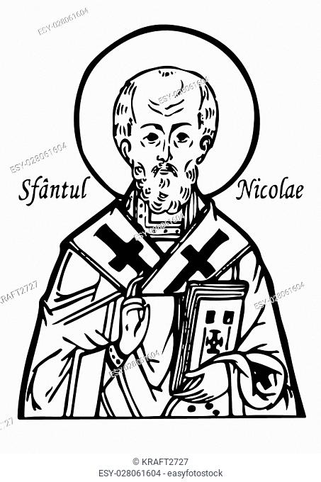 St. Nicholas. Bust of St. Nicholas. Portrait of St. Nicholas. Stencil St. Nicholas