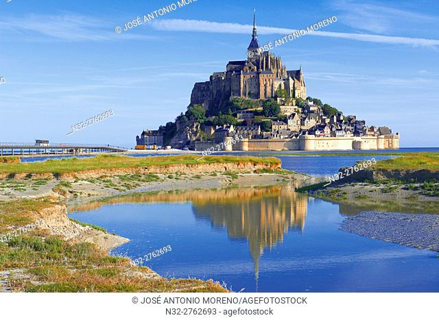 Mont St Michel, Mont-Saint-Michel, Benedictine abbey, Pontorson, UNESCO, World Heritage Site, Manche, Normandy, France