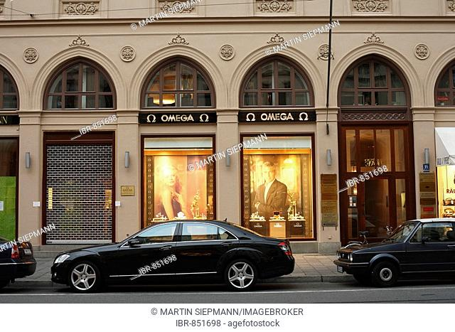 Omega Jewellers in Maximilianstrasse Street, Munich, Bavaria, Germany, Europe