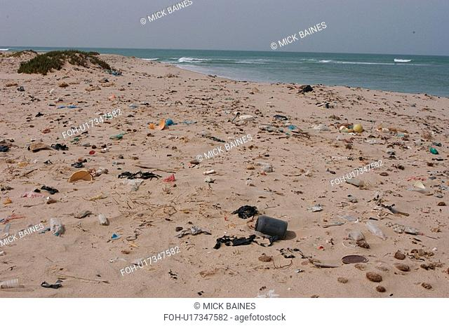 Litter washed up on beach, Southern Morocco