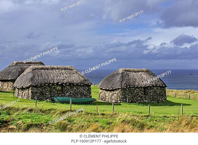 Thatched cottages at the Skye Museum of Island Life, Kilmuir, Isle of Skye, Scotland