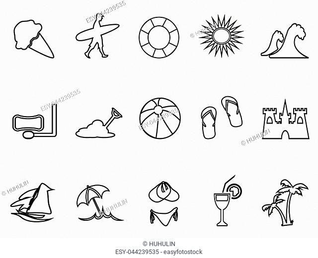 isolated beach linear icon set from white background