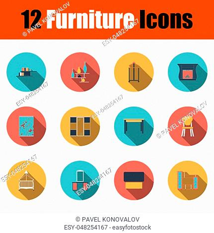 Furniture Icon Set. Flat Design With Long Shadow. Vector illustration
