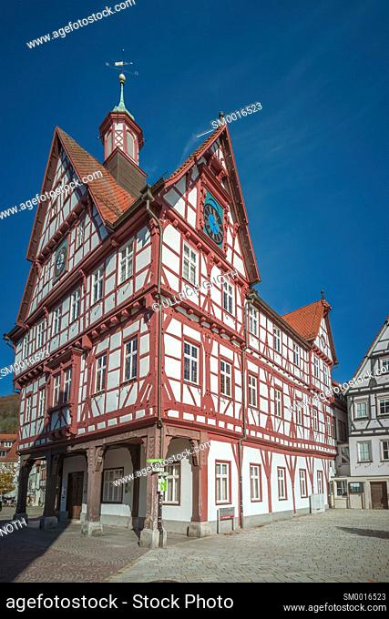 Market place and town hall of Bad Urach, Swabian Alb, Baden-Württemberg, Germany
