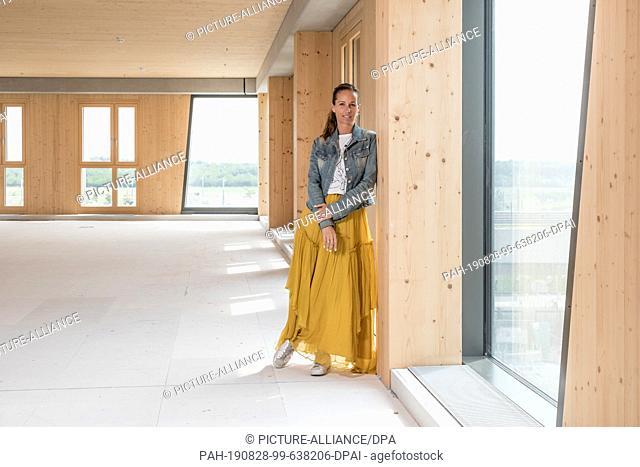 "27 August 2019, Austria, Wien: Caroline Palfy, master builder, engineer and project developer, is standing inside the new """"Hoho Wien"""""