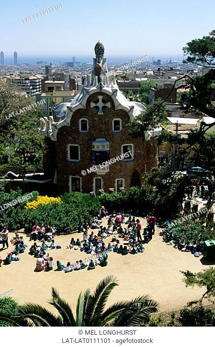 Park Guell is a garden complex on the hill of el Carmel in the Gracia district of Barcelona designed by the Catalan architect Antoni Gaudi