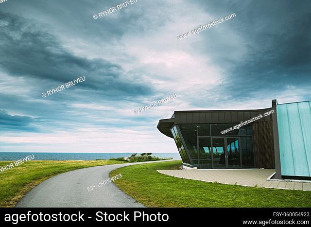 Alnesgard, Godoya, Norway. Visitor Center Near Alnes Lighthouse In Summer Day In Godoy Island Near Alesund Town. Alnes Fyr
