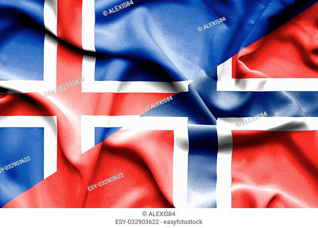 Waving flag of Norway and Iceland
