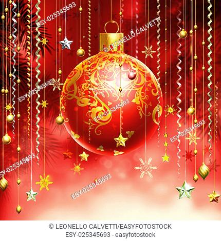 Christmass red abstract background with several decorations hanging down and a red decorated ball in the middle