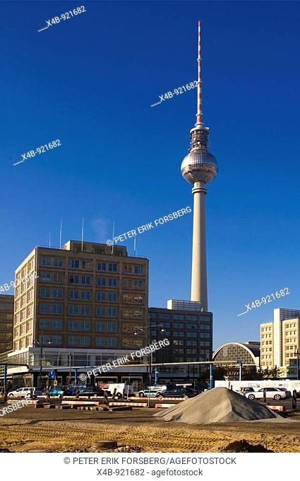 Construction site Alexanderplatz east Berlin Germany EU