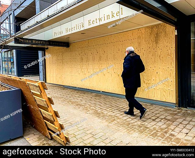 Tilburg, Netherlands. A delicatesse food store closed down due to the Corona Crisis Economical Lock Down