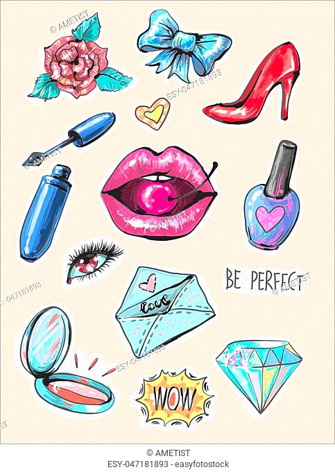 Fashion patch badges with lips and make up elements pop art embroidery like vector elements illustration
