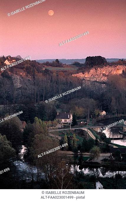 France, Burgundy, Yonne department, landscape at twilight