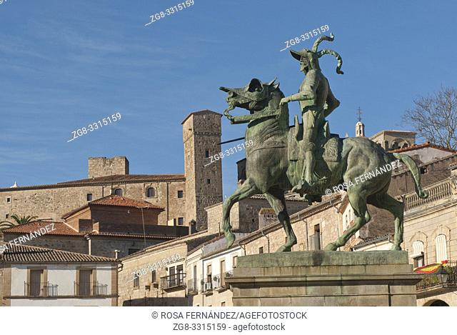 Main square of Trujillo and sculpture of Pizarro, province of Caceres, Extremadura, Spain