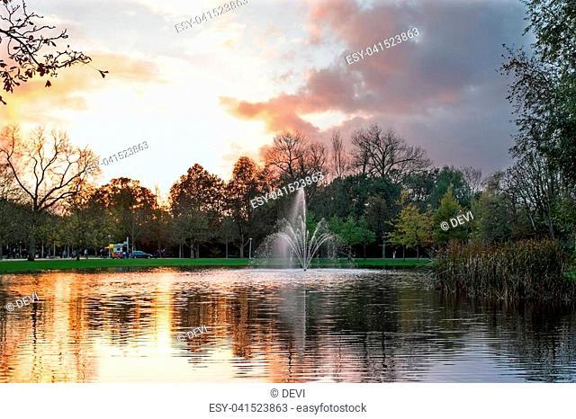 Autumn in the Vondelpark in Amsterdam the Netherlands at sunset