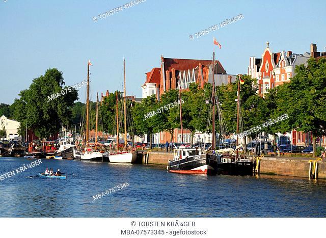 Historic houses, An der Untertrave, Lübeck, Schleswig-Holstein, Germany, Europe