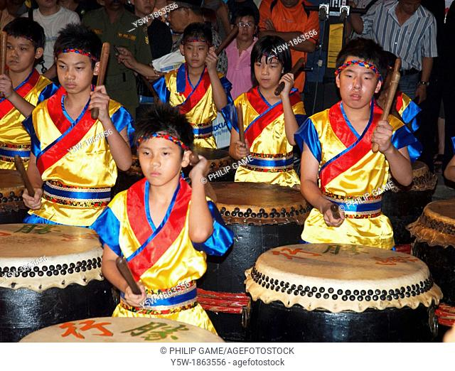 Young drummers from Penang perform at Chinese New Year in Malaysia