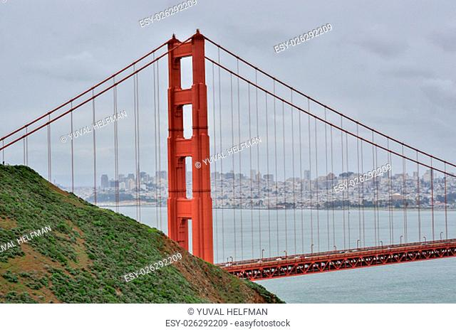 Golden Gate Bridge and San Francisco on a winter day