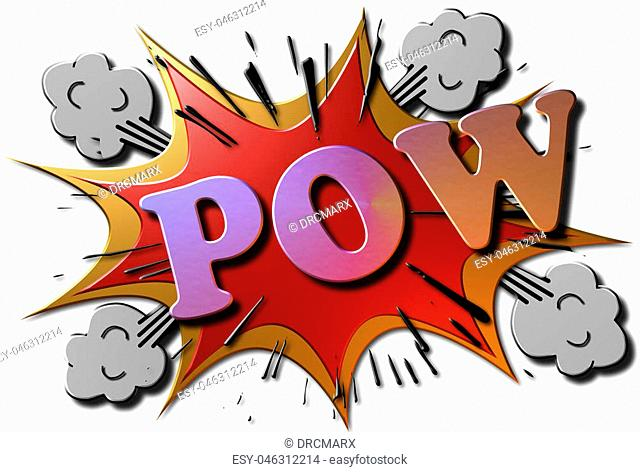 """A red and gold metallic 3D rendered illustration of a cartoon explosion with the multi colored word """"POW"""" in metal"""