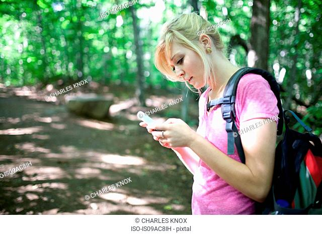 Woman in forest looking at smartphone
