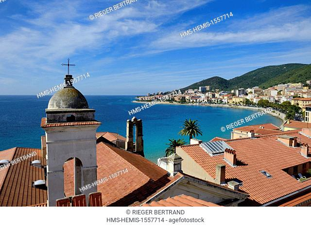 France, Corse du Sud, Ajaccio, St. Erasmus church devoted to the saint patron of the fishermen overlooking the bay of Ajaccio in the background