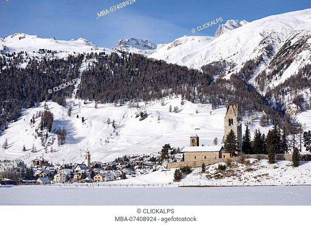 The church of San Gian and Celerina, canton of Graubünden, Engadine, Switzerland, Europe