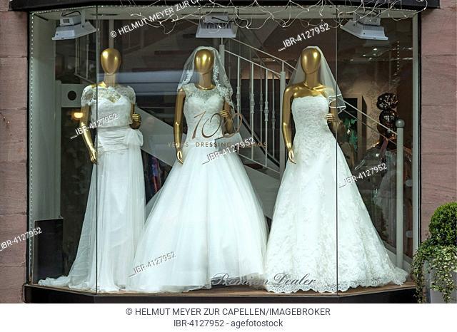 Wedding dresses in the shop window, Bavaria, Germany
