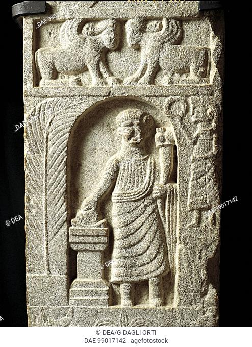 Punic civilization - Tunisia - Tophet of Carthage - 2nd century b.C. - Votive stele with a relief representing a sacrifice to Goddess Tanit